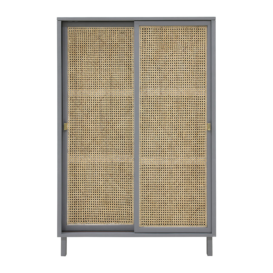 Woven Cane Cabinet In Grey Venice Beach House